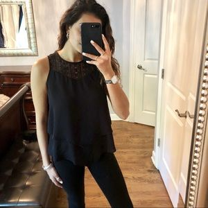 Two Layered Black Crochet Tank Top